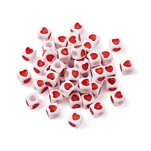 Beadthoven 100 Pieces White Acrylic Heart Shape Plastic Cube Beads Large Hole Beading for Necklace Bracelet Keychains Kid's Jewelry 7mm Hole: - 4 Heart Mm Shape