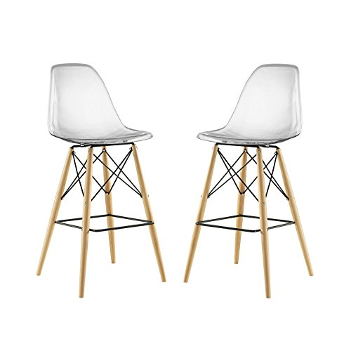 Modway Pyramid Bar Stools with Natural Wood Legs in Clear - Set of 2 ()