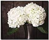 Rustic Country Home Decor 8x10 Unframed Fine Art Print. Cream Hydrangeas in Bronze Vase. Botanical Floral Wall Art.
