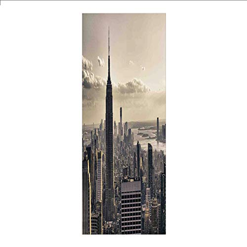 3D Decorative Film Privacy Window Film No Glue,NYC Decor,Aerial View of NYC in Winter Time American Architecture Historical Popular Metropolis Photo,Beige Grey,for Home&Office]()