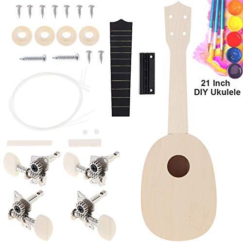 (V2AMZ - Sale 21 Inch Ukulele DIY Kit Pineapple Shape Basswood Hawaii Guitar for Handwork Painting Parents-child Campaign)