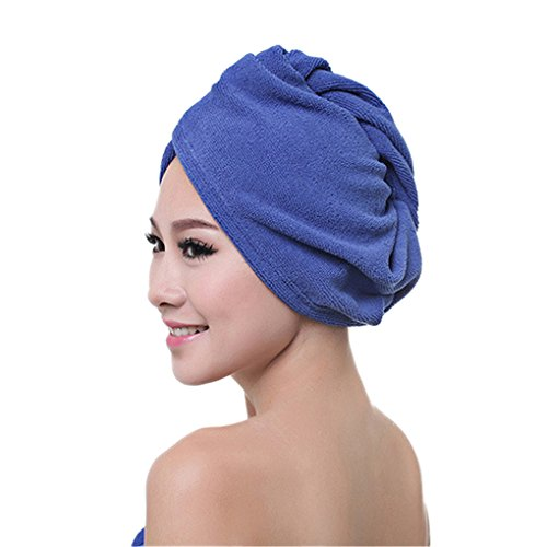 Holiberty Microfiber Super Absorbent Soft Bath Towel Hair Turban Dry Hat Cap Quick Drying Lady Shower Cap Hat Twist Head Wrap Dryer - Rear Group Package