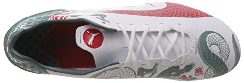 Puma evoSPEED 1.3 Graphic FG - zapatillas de fútbol de material sintético hombre blanco - Weiß (white-sea pine-high risk red 01)