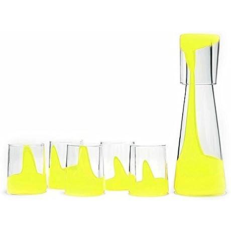 Bib Sola Hand Blown Glass Social Set 1 Decanter 6 Tumblers Yellow