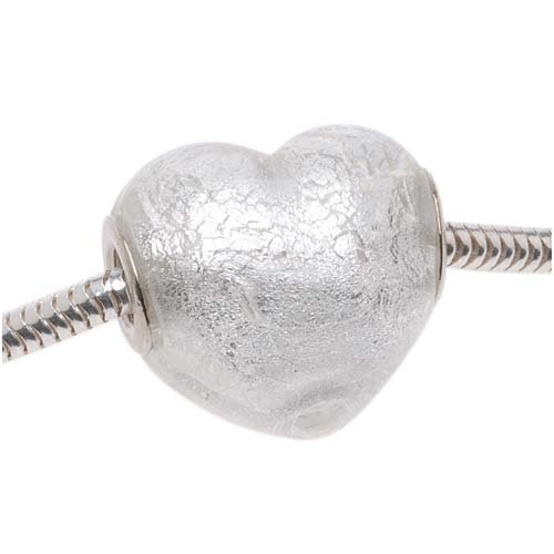 Silver Foil Glass Heart - Murano Style Glass Silver Foil Lampwork Heart European Style Large Hole Bead - 20mm (1)