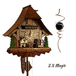 Qwirly 2 Item Bundle: STERNREITER Beer Drinker Black Forest Mechanical Cuckoo Clock Model 1247 & Optical Illusion Spinner