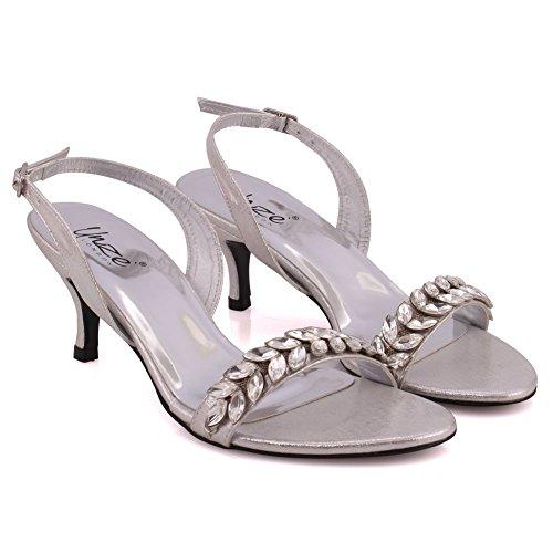 Hebilla Strap 3 Gathering Sandals Embellecido 8 Ajustable Uk On Toe Slip Evening Sling Plateado Mujeres Open Unze Formal Back Tacón Kitten Ariya Talla qgOgRwP
