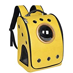 XAJGW Pet Carrier Space Capsule Backpack, Bubble Window Lightweight Padded Traveler for Cats, Dogs, Small Animals w/Breathable Air Holes (Color : Yellow)