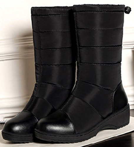 Easemax Warm Mid Wedge Pull Calf Snow On Women's Black Toe Heel Round Mid Booties rrqanxB65w