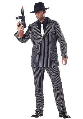 40's Gangster Costume (California Costumes Men's Gangster Costume, Gangster Stripe, Medium)