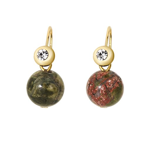 Lova Jewelry Gem Stone Dangle Earrings (Unakite Stone) (Unakite Hook Earrings)