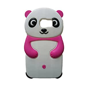 RASK Cute 3D Panda Silicone Rubber Soft Case Cover For Samsung Galaxy S6 Pink