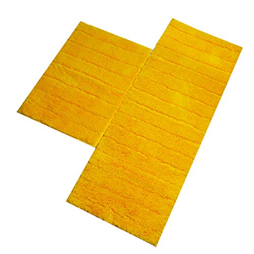 U'Artlines Kitchen Mat, Decorative Non-Slip Microfiber Doormat Bathroom Mats Shower Rugs for Living Room Floor Mats (17.7x25.6+17.7x47.2, Striped Yellow)