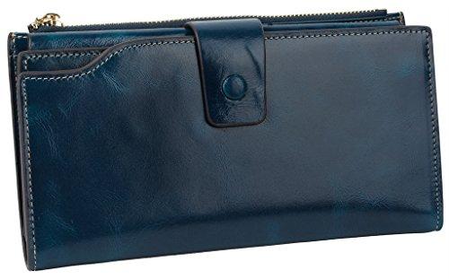 Yaluxe Donna grande capacità lusso cera vera pelle Portafoglio con tasca con zip(confezioni regalo) dunkelblau