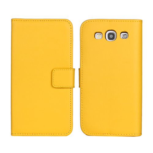 S3 i9300 Case, iCoverCase Multicolor Genuine Leather Wallet [Card Slot] Cover Kickstand [book Flip] Case for Samsung Galaxy S3 i9300 (Yellow) (Galaxy S3 Flip Case Yellow)