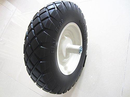Kunhua 16-PU-B-FK-20 4.80/4.00-8'' Flat Free Wheelbarrow Tire with Knobby Tread 6'' Centered Hub(two sides symmetrical) 3/4'' Ball Bearings 15.5'' Tire Diameter by Kunhua