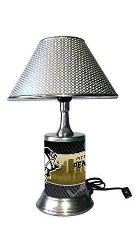 Chrome Colored Shade, Pittsburgh Penguins Plate Rolled in on The lamp Base ()