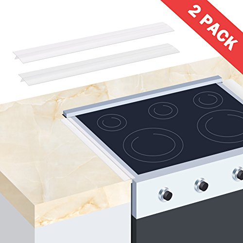 Table Range - Wimaha 2 Pack Stove Gap Cover Counter Top Stove Fills Gap Between Countertop and Stove, Seals Spills Between Stovetops, Washing Machines, Tables, Clear Silicone