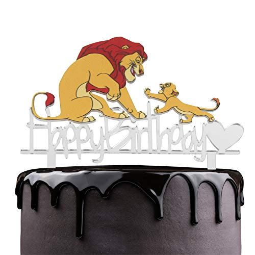 King Sinba Happy Birthday Cake Topper - Disney Jungle Animals Safari Theme Party Cake Décor - Baby Shower Kids Birthday Party Supplies - Adorable The Lion King Mirrored Acrylic Decorations ()