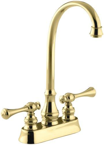 KOHLER K-16112-4A-PB Revival Entertainment Sink Faucet, Vibrant Polished (Entertainment Centerset)