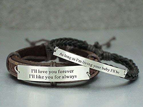 ba7dbff6ad222 Amazon.com: His and Hers Leather Bracelets, Matching Couple Quote ...