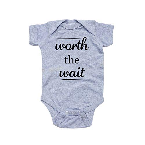 Apericots Cute Worth The Wait Fun Infant Short Sleeve Soft Cotton Bodysuit