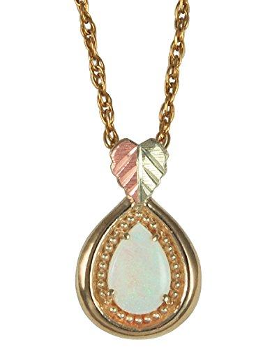 Opal Teardrop Pendant Necklace, 10k Yellow Gold, 12k Green and Rose Gold Black Hills Gold Motif, 18''