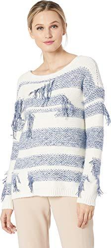 Two by Vince Camuto Women's Long Sleeve Boat Neck Fringe Sweater Indigo Night Heather ()