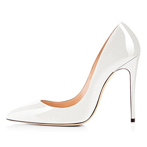 Onlymaker Women Pointed Toe Slip On Pumps Cobblestone Pattern Stiletto High Heel for Wedding Party Dress Shoes White US 11