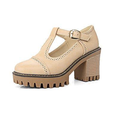 Casual Black de Primavera tacón grueso Verano oficina mujeres cuero tacones Zapatos de y Fiesta Gris Invierno Noche carrera Comfort Amarillo las Otoño sintético y BuckleBlack EnqRUS