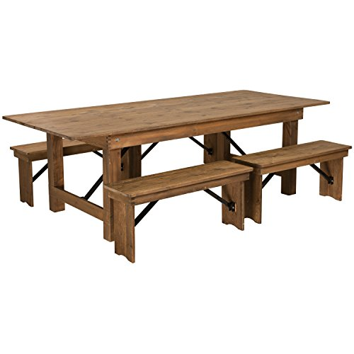 Flash Furniture HERCULES Series 8' x 40'' Antique Rustic Folding Farm Table and Four Bench ()