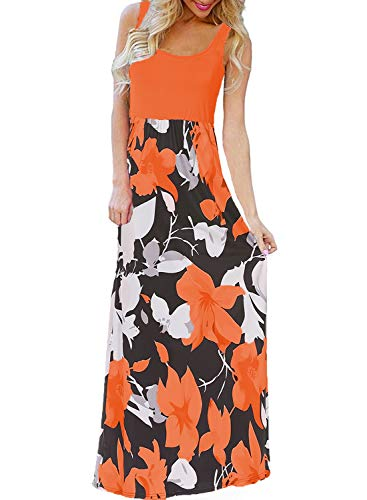 Floral Women's Print Boho Summer Dress Long Tank Sleeveless Orange Maxi BLUETIME xnqRUHwIU