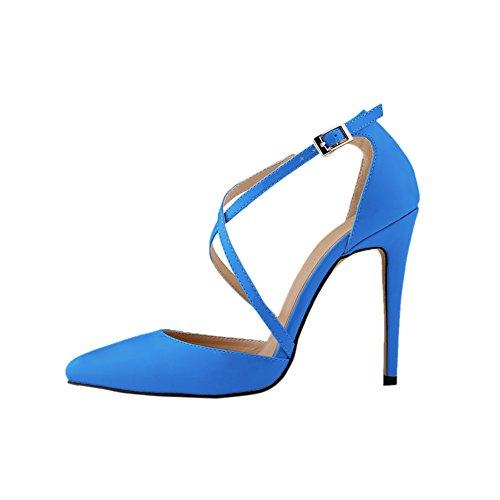 Fereshte Dames Hoge Hakken Enkelband Stiletto Pump Schoenen Blauw