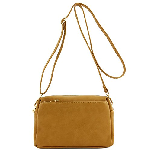 (Triple Zip Small Crossbody Bag (Dark Mustard))