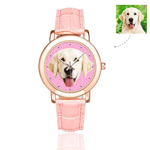 Personalized Face Photo Custom Dog Pet Watch Bones Dog Cat Tracks Paws Pink Pattern Wrist Watch for Women/Girlfriend/Wife ()