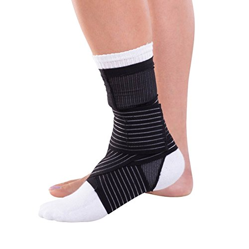 DonJoy Advantage DA161AV03-BLK-M Ankle Sleeve with Figure 8 Straps for Sprains