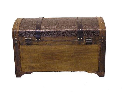 Nostalgic Medium Wood Storage Trunk Wooden Treasure Chest by Styled Shopping (Image #4)