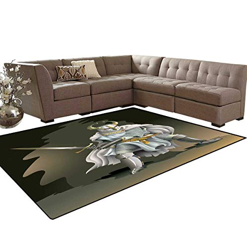 Medieval Decor Kids Carpet Play-mat Rug Illustration of Heavy Armored Knight of Kingdom Empire in The Past Times Culture Room Home Bedroom Carpet Floor Mat 6'6