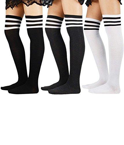 Durio Womens Knit Thigh High Socks Thin Tube Sock with Stripes Over Knee High Socks Stockings for Women Leg Warmers 3 Pack Black & White & Grey One ()
