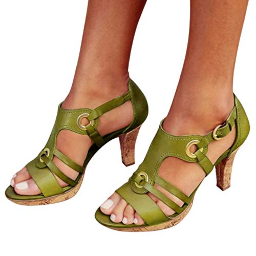 Cenglings Rome Shoes,Women's Open Toe Strappy Hollow Out Ankle Strap Buckle Sandals Low Chunky Heel Pumps Beach Shoes Green