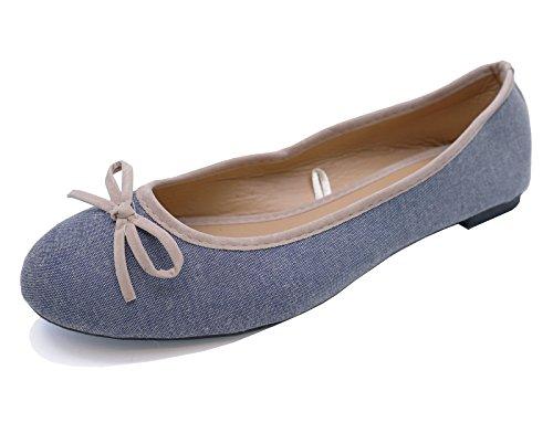 Ladies Flat Blue Canvas Slip-On Shoes Comfy Ballet Ballerina Casual Pumps UK 3-8 kpRjr5V