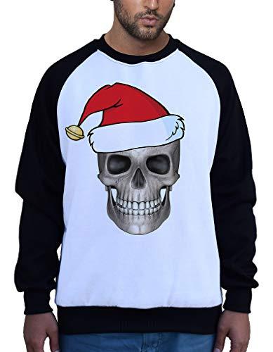 Men's Christmas Skull B1468 PLY Raglan Sweatshirt Small ()