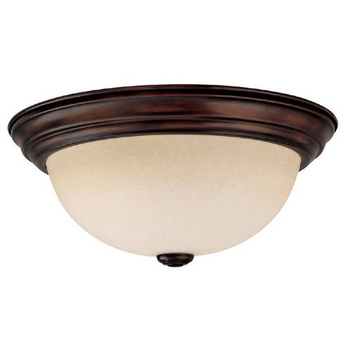 Capital Lighting 2743BB Flush Mount with Mist Scavo Glass Shades, Burnished Bronze Finish (Scavo Glass Shade White)