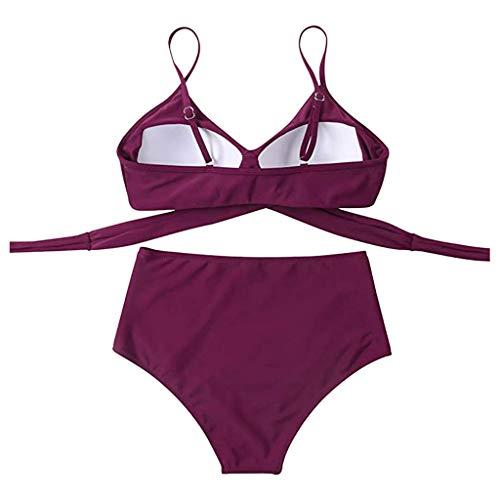 Kavitoz Damen Badeanzug Push Up High Cut Schnür Halter Bikini Set Zweiteiliger Bikini Oberteil High Taille Wickel Bikinihose Tiefer V Ausschnitt Sportlich Zweiteiliger Strandbikini