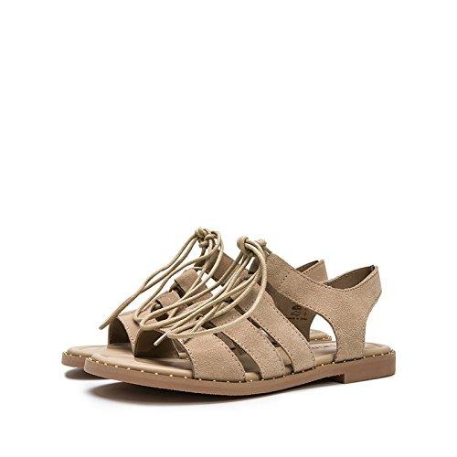 a Tacchi piatti basso Sandali da pelle di tacco bufalo Sandali estivi 36 tacco Sandali basso moda casual alti alla DHG donna con Pantofole Aw8q6pcxT