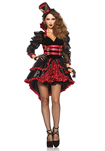 Leg Avenue Women's Victorian Vamp Steampunk Costume, Black/Burgundy, Large (Costume Victorian)