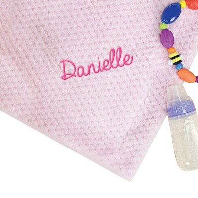 """Personalized Pink Baby Blanket, 30"""" x 40"""", Super Soft, Pink"""