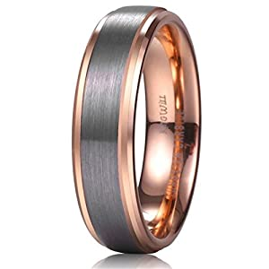King Will Unisex 6mm 18k Rose Gold Plated Tungsten Carbide Ring Two Tone Wedding Band Size4-15