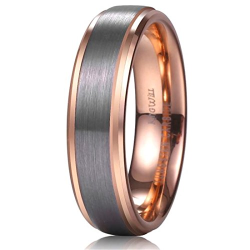 King Will DUO Unisex 6mm 18k Rose Gold Plated Tungsten Carbide Ring Two Tone Wedding Band Size4 6.5
