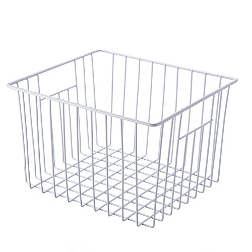 SANNO Household Wire Storage Basket Bins Organizer with Handles for Kitchen, Pantry, Freezer, Cabinet - Pearl White
